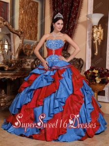Modest Blue and Red Ball Gown Strapless Embroidery Sweet Sixteen Dresses