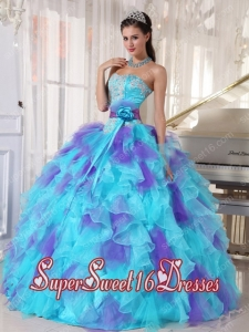 Modest Organza Appliques Sweet Sixteen Dresses in Aqua Blue and Purple