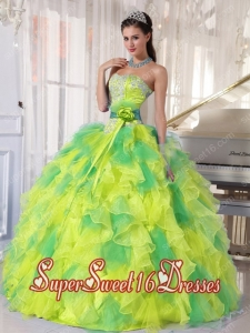 Muti-color Sweetheart Ruffle Organza Appliques with Beading Ball Gown Sweet Sixteen Dress Discount