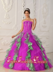 New Style Colourful Ball Gown Strapless With Appliques and Beading Sweet 16 Dresses