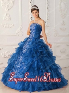 New Style In Blue Ball Gown Strapless With Satin and Organza Embroidery Sweet 16 Dresses