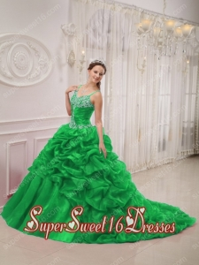 New Style In Green Ball Gown Spaghetti Straps Court Train Organza Beading For Sweet 16 Dresses