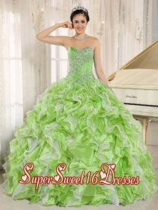 Spring Green With Beaded Bodice and Ruffles Custom Made For 2013 New Style Sweet 16 Dresses