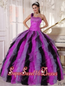Sweet Sixteen Dress Beadings One Shoulder Ruffles Discount Ball Gown Muti-color