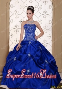 Sweet Sixteen Dress Embroidery Pick-ups Discount Ball Gown Blue Taffeta
