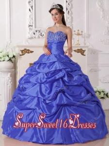 Sweetheart Blue Pick Ups Taffeta Military Ball Dress with Beading