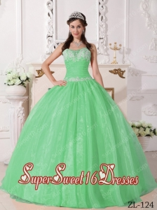 Apple Green Ball Gown Strapless Taffeta and Organza Appliques Modest Sweet Sixteen Dresses