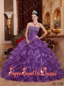 Ball Gown Strapless Organza Beading Modest Sweet Sixteen Dresses in Lavender