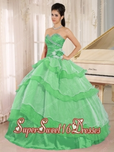 Green Sweetheart Beaded Decorate and Ruched Bodice Ruffled Layeres Perfect Sweet 16 Dress In 2013