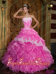Hot Pink Applique Ball Gown Applique Ruffle Sweet Sixteen Dress Discount 2014