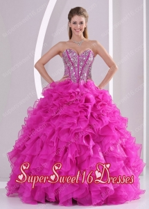 Pretty Sweetheart Ruffles and Beaded Decorate 2014 Hot Pink Perfect Sweet 16 Dress