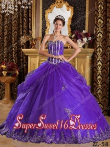 Purple Sweetheart Organza 15th Birthday Party Dresses with Appliques