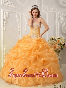 15th Birthday Party Dresses in Gold with Beading and Pick-ups