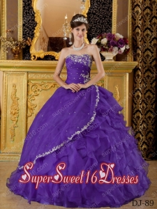 2014 Sweet Sixteen Dress Appliques Purple Ruffle Organza Discount Ball Gowns