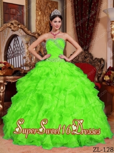 Ball Gown Sweetheart Organza Beading 15th Birthday Party Dresses in Spring Green