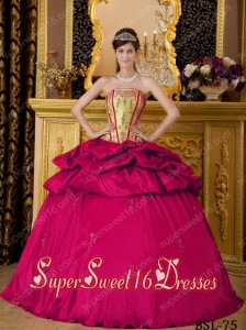Beautiful Ball Gown Appliques Taffeta 15th Birthday Party Dresses in Coral Red