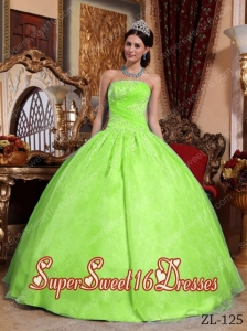Beautiful Strapless Organza Appliques 15th Birthday Party Dresses in Yellow Green