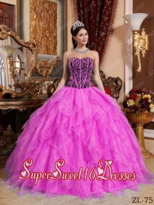 Beautiful Sweetheart Embroidery with 15th Birthday Party Dresses in Hot Pink and Black