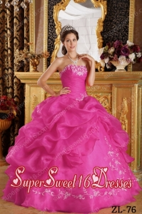 Hot Pink Ball Gown Strapless Embroidery Organza 15th Birthday Party Dresses