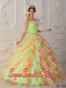 Multi-Color Ball Gown Strapless Floor-length Organza 15th Birthday Party Dresses in Hand Flowers and Ruffles