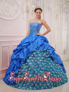 New Style In Blue Ball Gown Strapless With Taffeta Beading Sweet 16 Dresses