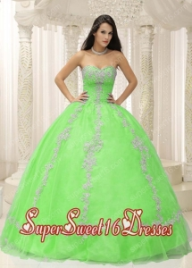 New Style In Green Sweetheart With Appliques and Beaded Decorate For 2013 Sweet 16 Dresses