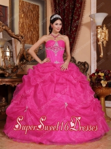 New Style In Hot Pink Ball Gown Sweetheart With Pick-ups And Organza Beading For Sweet 16 Dresses