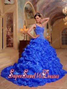 Organza Blue Spaghetti Straps A-line Appliques and Pick Ups Brush Train Perfect Sweet 16 Dress