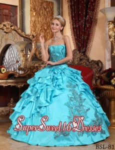 Popular Ball Gown Taffeta Appliques 15th Birthday Party Dresses in Aqua Blue