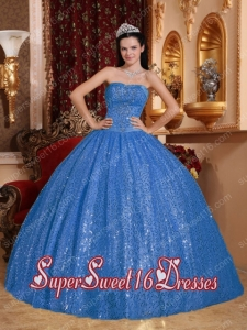 Popular Blue Ball Gown Sweetheart Beading 15th Birthday Party Dresses