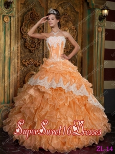 Popular Orange Ball Gown Ruffles Organza 15th Birthday Party Dresses