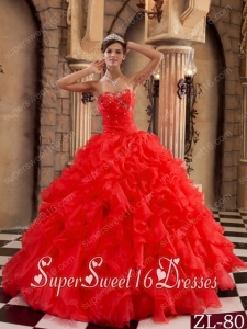 Popular Red Ball Gown Sweetheart Ruffles Organza 15th Birthday Party Dresses