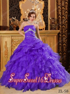 Purple Floor-length Organza 15th Birthday Party Dresses with Beading And Ruffles