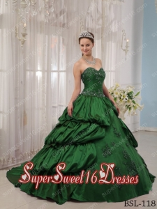 Sweet Sixteen Dress Applique with Beadings Ball Gown 2014 Green Discount
