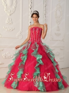 Colourful Ball Gown Strapless With Appliques and Beading In Plus Size For Sweet 16 Dresses