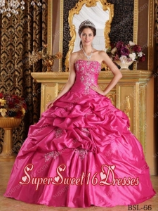 Hot Pink Pick-ups Ball Gown Strapless Taffeta Perfect Sweet 16 Dress with Appiliques