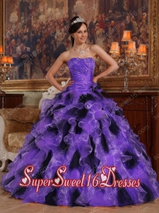 Organza Purple and Black Ball Gown Strapless Ruffles Perfect Sweet 16 Dress with Beading