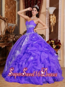 Plus Size In Purple Ball Gown Sweetheart Floor-length Organza Beading For Sweet 16 Dresses