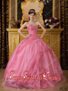 Popular Rose Pink Ball Gown Sweetheart Appliques Organza 15th Birthday Party Dresses