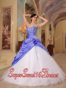 Purple and White A-Line / Princess Hand Made Flower Sweetheart Beading Perfect Sweet 16 Dress