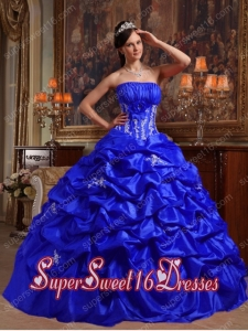 Royal Blue Taffeta Strapless Appliques and Pick Ups Perfect Sweet 16 Dress with Ruching