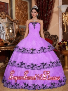 Affordable Lavender Ball Gown Strapless With Organza Lace Appliques In Plus Size For Sweet 16 Dresses