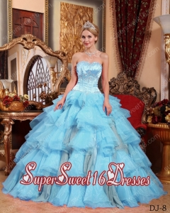 Aqua Blue Sweetheart Ball Gown Organza Beading Popular Sweet 16 Dresses