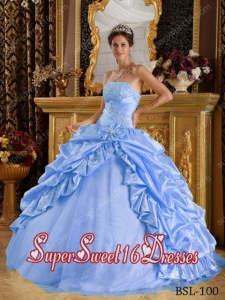 Baby Blue Ball Gown Taffeta and Tulle Popular Sweet 16 Dresses with Beading
