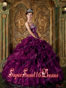 Popular Organza Purple Ball Gown Strapless Floor-length Ruffles Sweet 16 Dresses