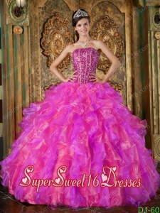 Strapless Multi-Color Ball Gown Organza Beading and Ruffles Popular Sweet 16 Dresses