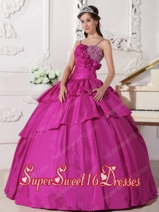 Sweet 16 Dresses In Fuchsia Ball Gown Straps With Taffeta Beading in Plus Size