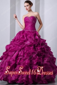 A-Line Fuchsia Sweetheart Floor-length Organza Beading and Rufffles Popular Sweet 16 Dresses