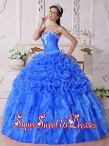 Baby Blue Ball Gown Strapless Organza Embroidery Popular Sweet 16 Dresses with Beading