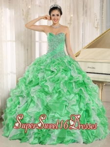Green Beaded Bodice and Ruffles Ball Gown Popular Sweet 16 Dresses